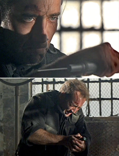 Nicholas Cage stabbing himself in the heart with an adrenaline shot in The Rock.