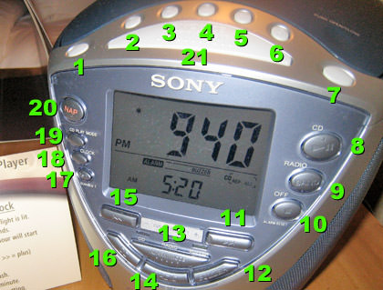 Sony alarm clock with a hideous number of complicated buttons.