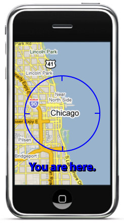 Faked map of Chicago on an iPhone with a target encircling the entire city saying 'You Are Here!'