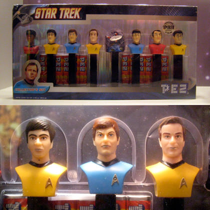 A PEZ collectible Star Trek Set with Original Series crew as PEZ dispensers