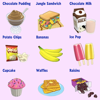 Webkniz food... Chocolate Pudding, Jungle Bug Sandwich, Chocolate Milk, Potato Chips, Bananas, Ice Pops, Cupcake, Waffles, and Rasins.