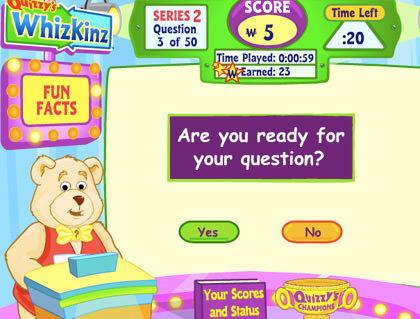 Webkinz Quizzy The Bear WhizKinz questions.