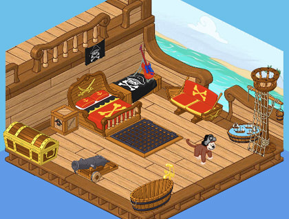 Bad Monkey's Pirate-Themed Bedroom in Webkinz World