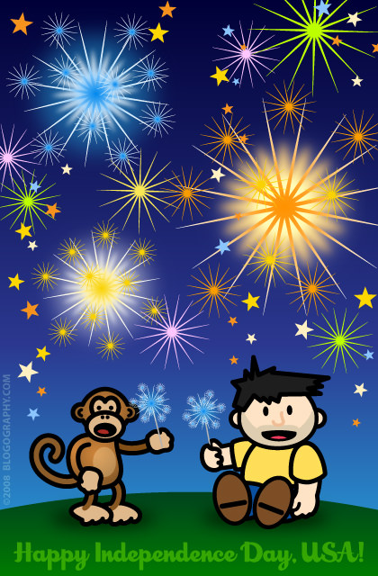 DAVETOON: Bad Monkey and Lil' Dave playing with sparklers while fireworks go off in the night sky... Happy Independence Day, USA!