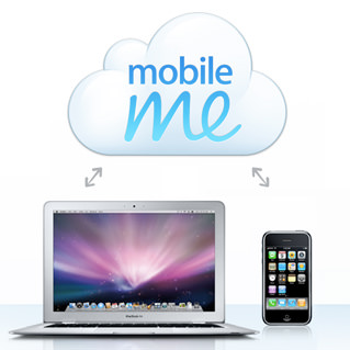 MobileMe graphic showing a Mac and an iPhone syncing through a cloud.