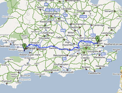 Map from Billericay, England to Barry, Wales