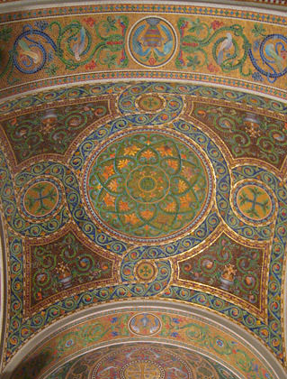 Mosaic ceiling inside the St. Louis Cathedral Basilica