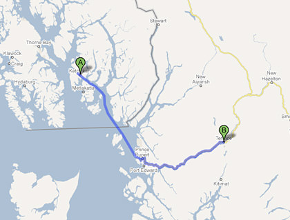 Map from Ketchikan, AK to Terrace, BC