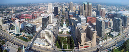 St. Louis panorama photo shot from the top of The Arch