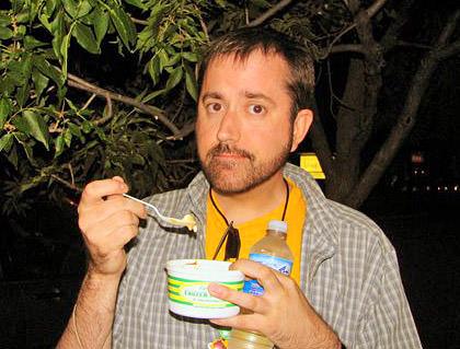 Dave eats a Ted Drewes frozen custard sundae.