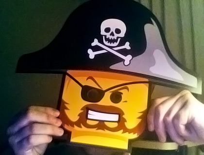 A photo of Dave wearing a Lego Pirate Mask!