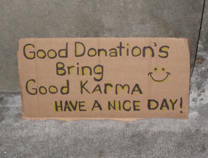 Karma Donation Sign