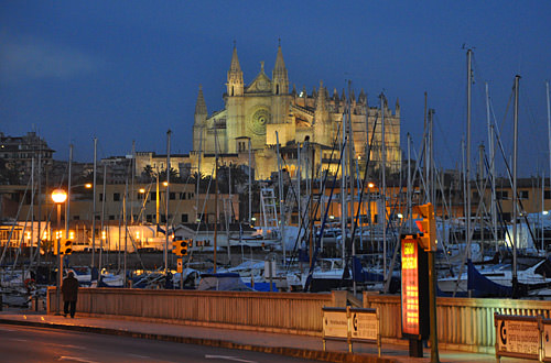 Looking towards the Palma Cathedral at night