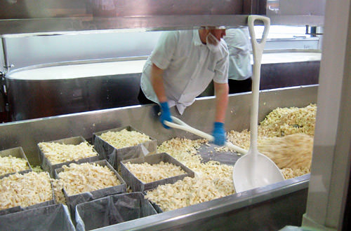 A guy making cheese at Beechers Cheese