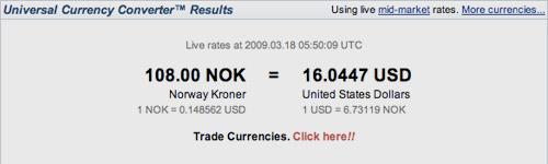 XE Real Kroner Value