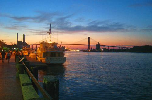 Sunset on River Street in Savannah