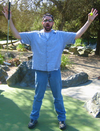 Dave declares mini-golf victory!