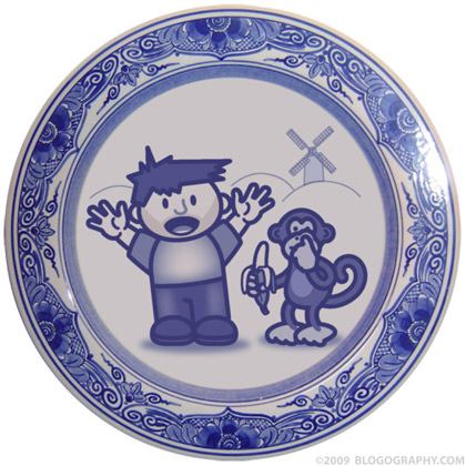 Dave and Bad Monkey on a Delft Plate