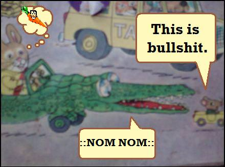 Richard Scarry Illustration Rabbit in Crocodile car coming up on Mouse in Mini-Car