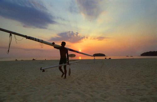 Thai Fisherman at Sunset