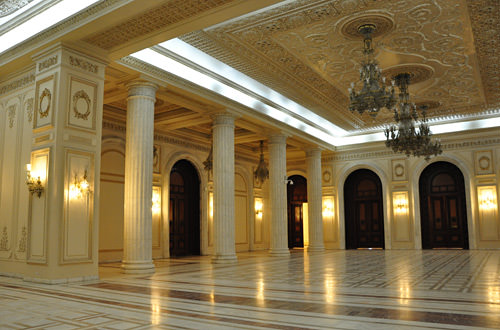 Inside Palace of the Parliament in Bucharest