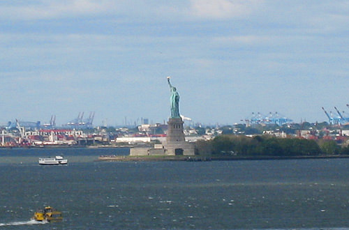 Statue of Liberty from the Brooklyn Bridge