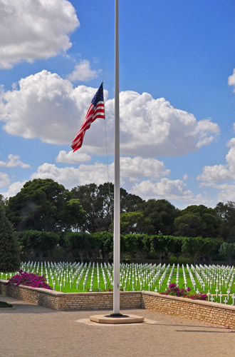 Flag Half-Mast at the Tunis American Cemetery