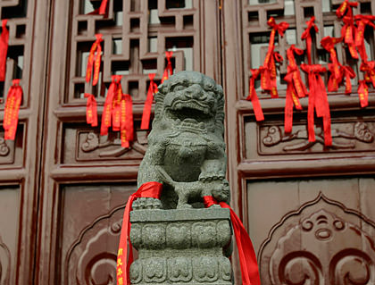 Red Ribbons on a Door in China