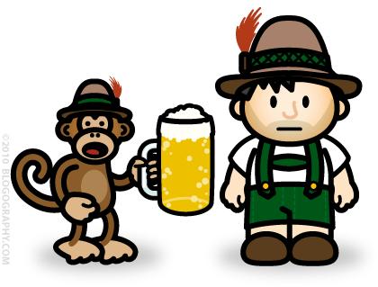 DAVETOON: Bad Monkey and Lil' Dave drinking Koelsch
