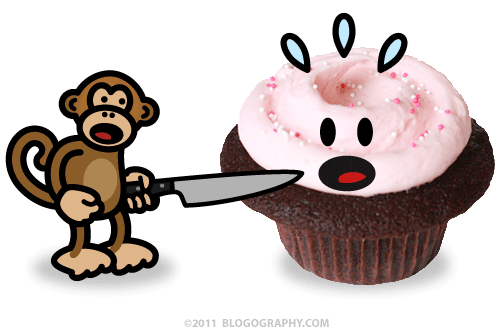 DAVETOON: Bad Monkey Assaults a Kate Cupcake from Cupcake Royale