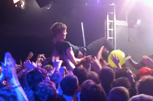 Matt & Kim Concert: Matt Crowd Surfing