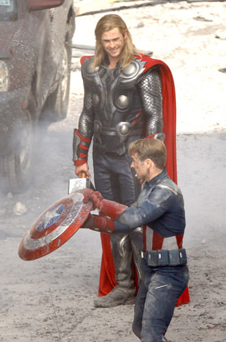 Thor and Captain America in The Avengers!
