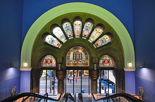 Queen Victoria Building Stained Glass Entrance