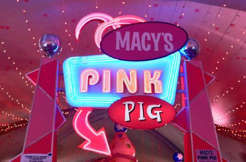 Pink Pig Sign at Macy's