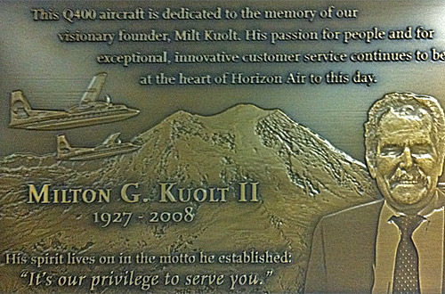 Plaque dedicating the plane to Alaska Air founder Milton G. Kuolt II
