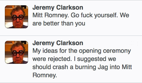 Jeremy Clarkson to Mitt Romney... Go Fuck Yourself