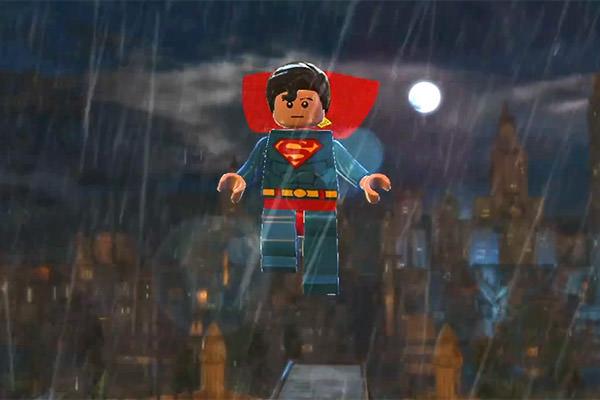 LEGO Superman flies over Gotham City