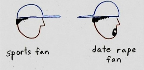 Baseball Cap Forward = Sports Fan. Baseball Cap Backwards = Date Rape Fan