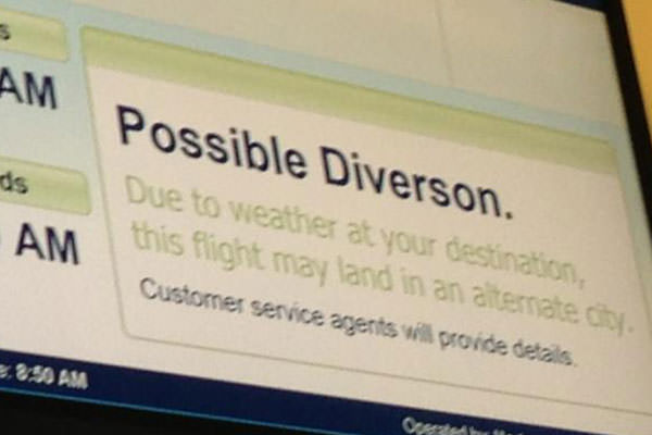 Flight has a Possible Diversion