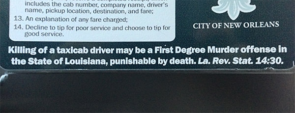 Illegal to Kill a Cab Driver