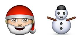 Happy Santa and Snowman EMOJI from Apple