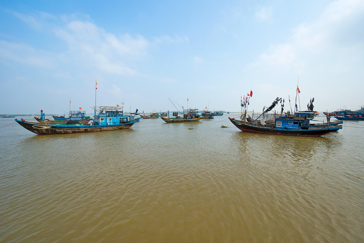 Boats in the Water Near Hoi An, Vietnam