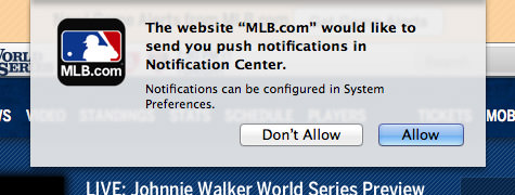 Mavericks Web Alerts