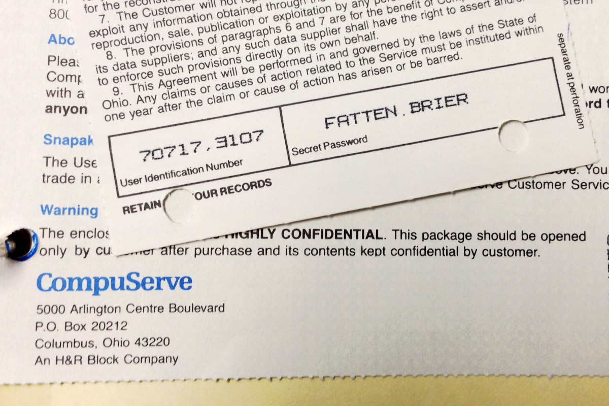 My CompuServe ID No.