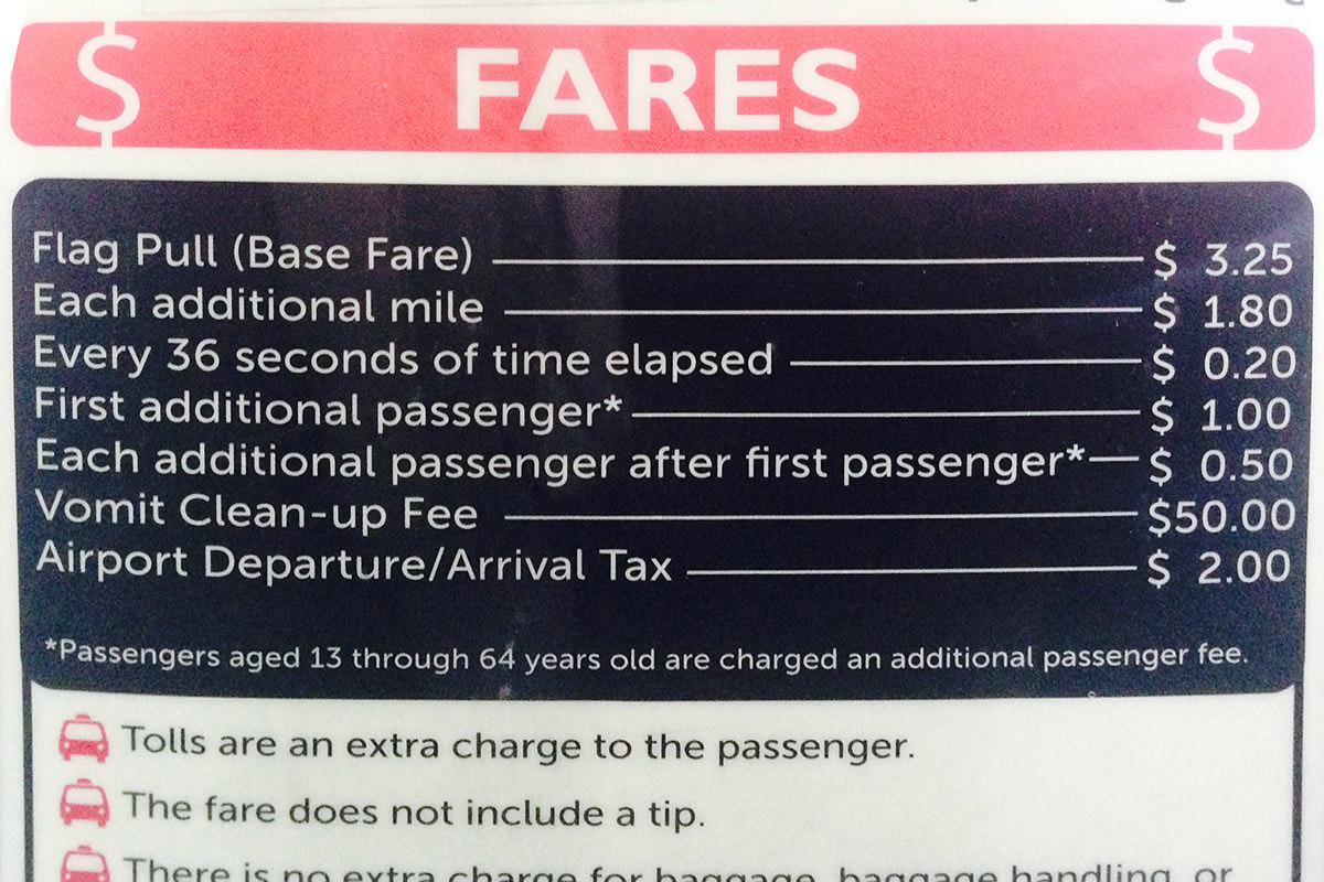 Taxi Vomit Fee = $50