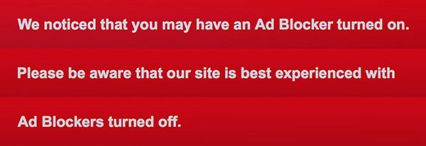 We noticed that you may have an Ad Blocker turned on. Please be aware that our site is best experiences with Ad Blockers turned off.