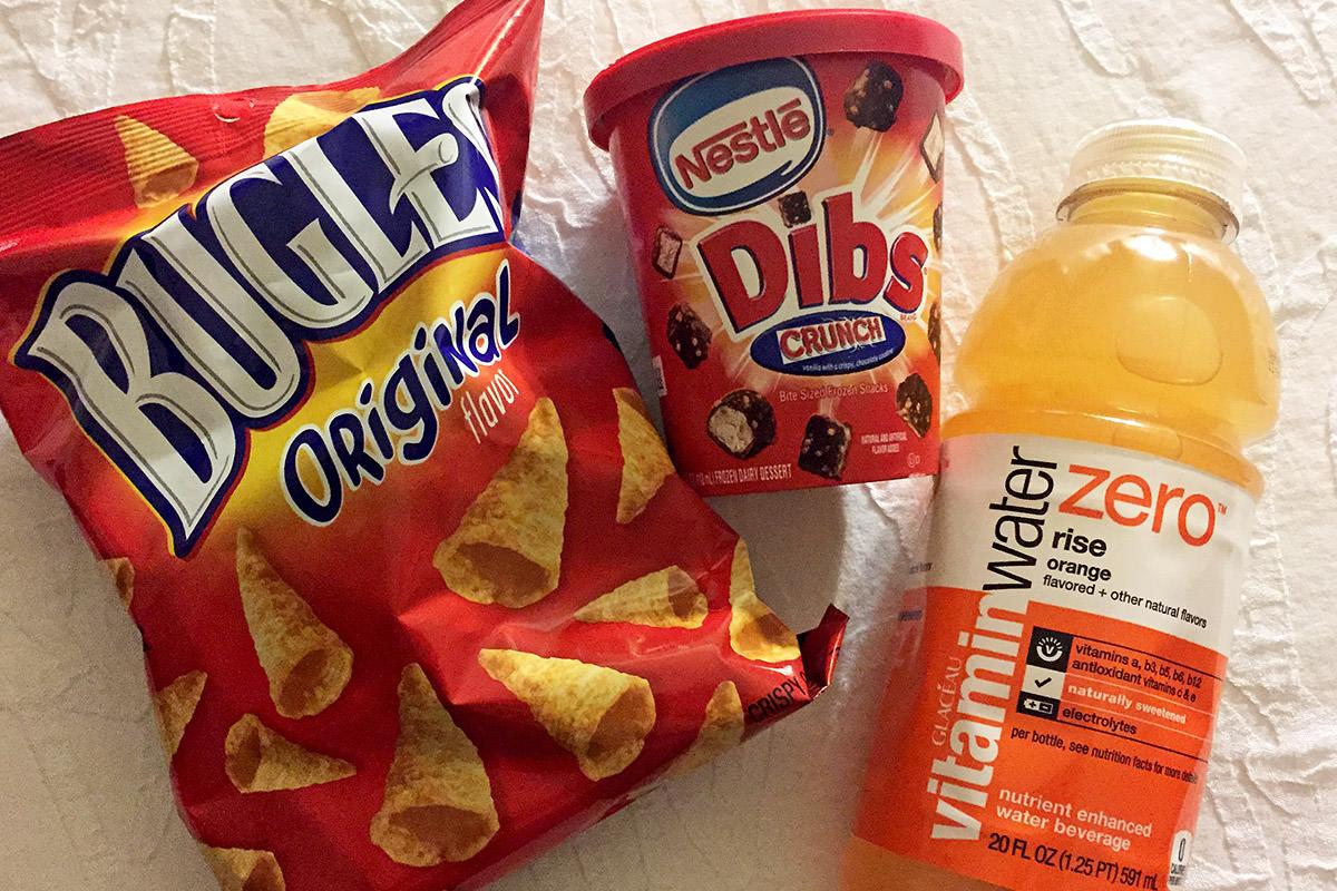 Bugles Chips, Dibd Ice Cream, Orange Vitamin Water