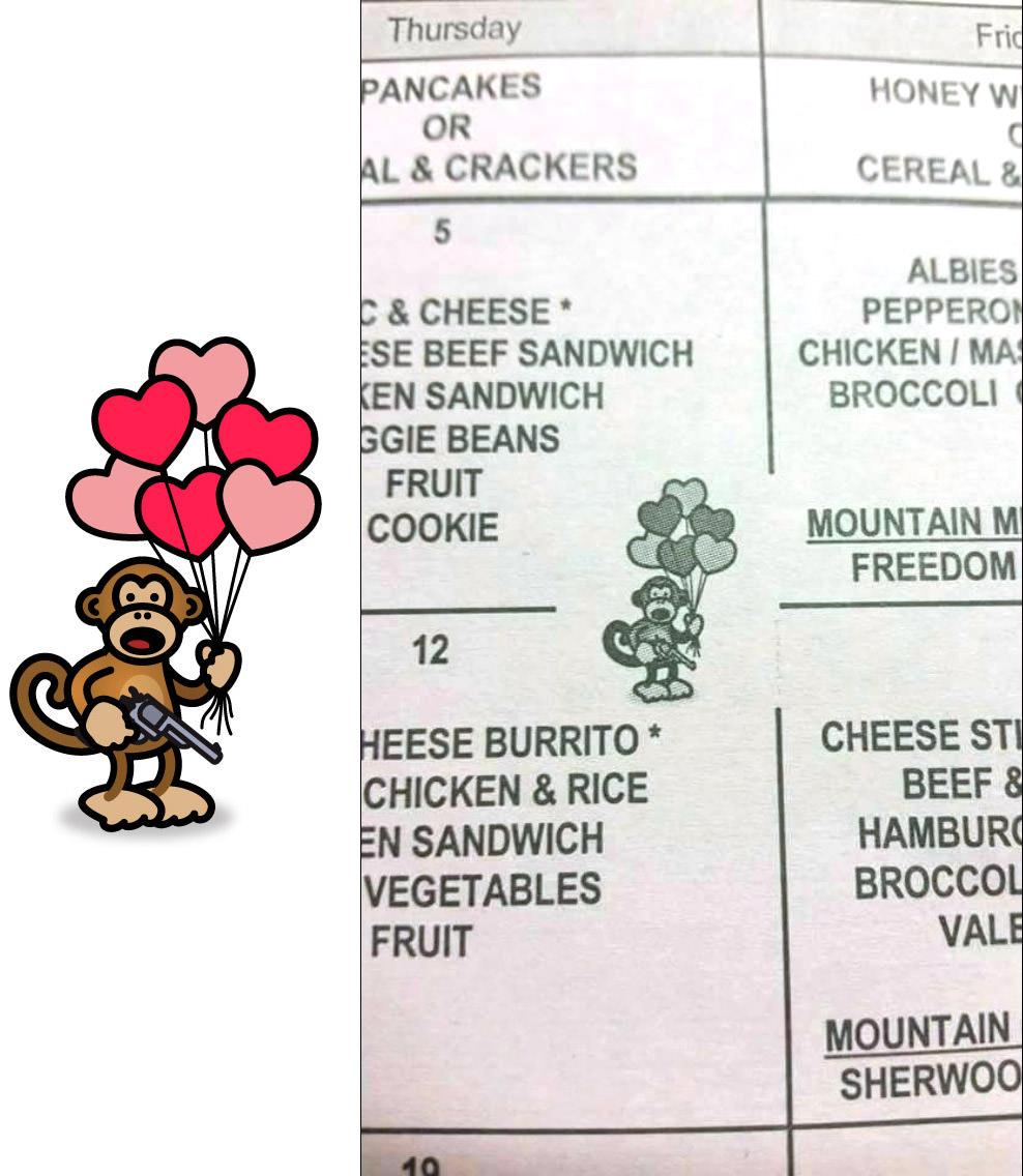 Bad Monkey on a School Lunch Menu