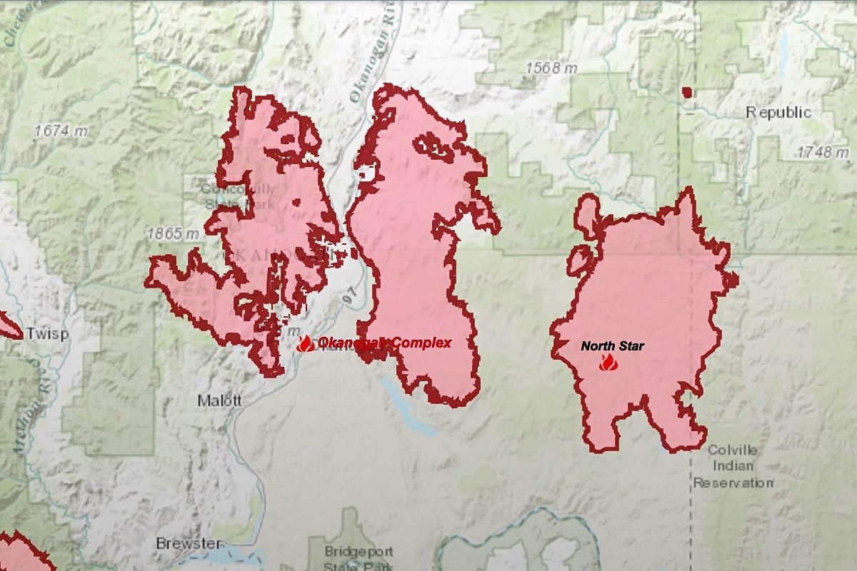 Okanogan Complex Fire Map